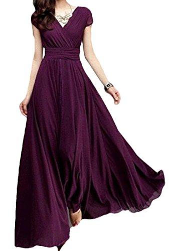 Chiffon Red V Neck Women Short Dress Beach BLTR Sleeve Wine Swing Maxi Summer A4qIYnw7
