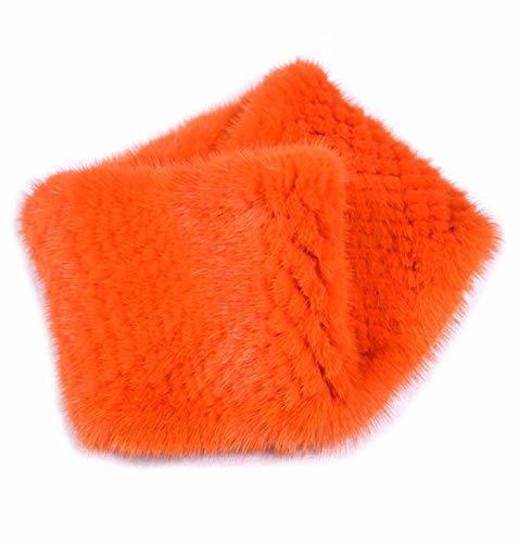 Fur Scarf Genuine Mink Fur Headband Women High Elasticity Knit Headwrap Neck Warmer