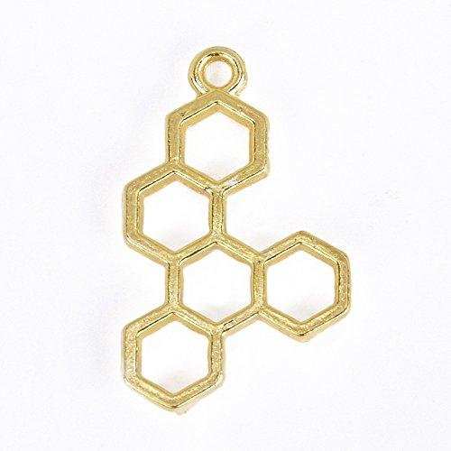 Gold Alloy Hive Resin Setting Open Back Pendant Metal Frame Open Back Bezel Charms Wholesale,Sold 10pcs/lot,30x18x3mm (Resin Metal)