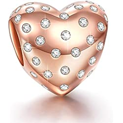 Ninaqueen 925 Sterling Silver Hope Heart Rose Gold Plated Cubic Zriconia Charms Fit Pandora Bracelet Valentine's Day Gifts Idea