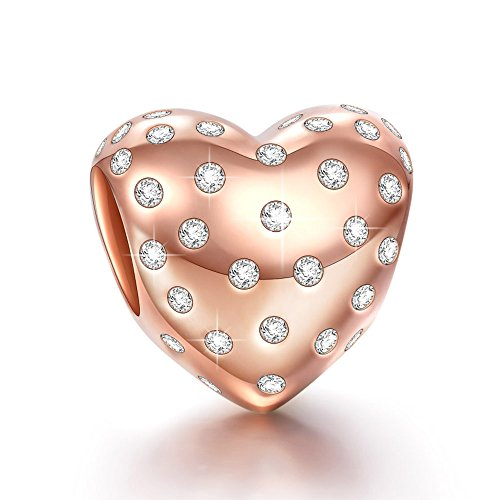 silver rose gold heart charms fit pandra charms for pandra bracelets birthday anniversary wedding valentines day gifts for girlfriend her women wife - Valentines Pandora Charms