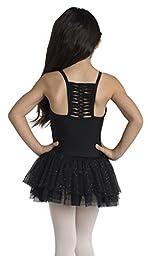 Children\'s Camisole Dance Dress with Glitter Skirt in Black (2-4)