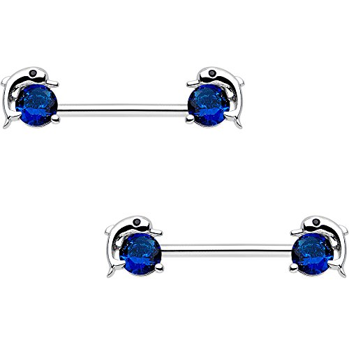 Body Candy Steel Blue Accent Dreamy Dolphin Barbell Nipple Ring Set of 2 14 Gauge 9/16