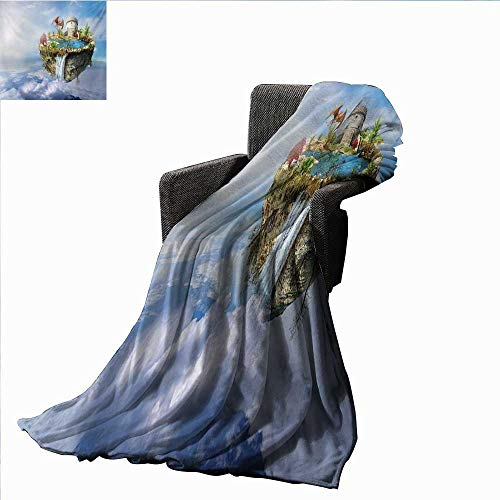 Blanket Island with Dragon Castle Tower Waterfall and Flipped Mountain in Space Image,Super Soft and Comfortable,Suitable for Sofas,Chairs,beds ()