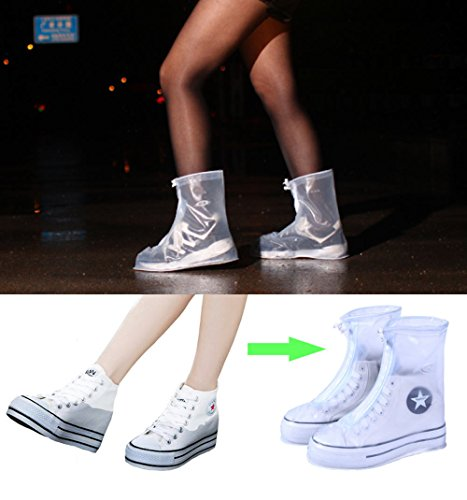 ARUNNERS Rain Shoes Boots Covers Overshoes Galoshes Travel For Women(XL,White) by ARUNNERS (Image #1)