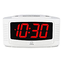 DreamSky Electronic Alarm Clock with Snooze and Dimmer, Big Bold Number Display, Simple Operation Alarm Clocks for Desk Office Bedroom, Plug In Clock with Battery Back
