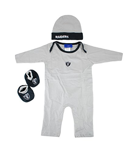 Reebok NFL Baby's Oakland Raiders Gift SET Daywear Coverall , HAT , Teddy and Booties 0-3 Months (Infants Creeper Nfl Reebok)