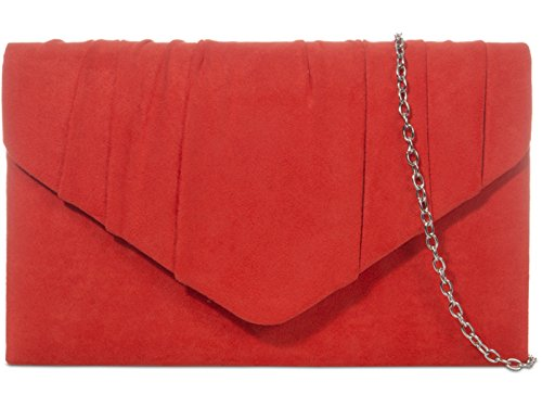 fi9? PLAIN SUEDE PLEATED WEDDING LADIES PARTY PROM EVENING CLUTCH HAND BAG PURSE Red