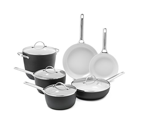 GreenPan Padova Ceramic Non-Stick 10Pc Cookware Set, Grey by GreenPan