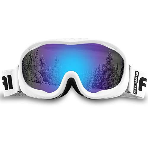 ALKAI Alta Ski Goggles, Snowboard Goggles Anti-Fog, 100% UV Protection, Double - Layer Spherical Lenses, Helmet Compatible Medium Fit Snow Goggles for Men & Women (VLT 14% White Frame/Revo Blue Lens)