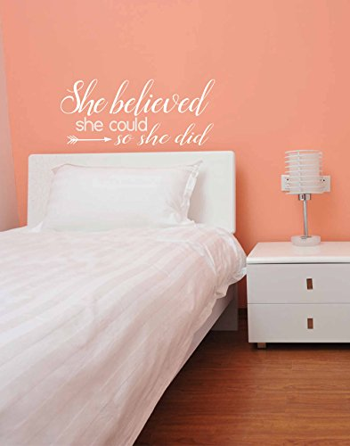 She Believed She Could So She Did Vinyl Decal - She Believed Vinyl with Arrow, Arrow Vinyl, Vinyl Lettering 23.5