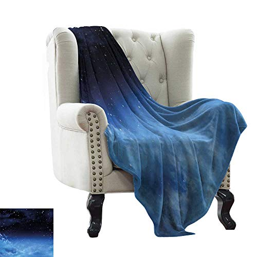 Cheap LsWOW Weighted Blanket Night Sky Ombre Colored Nebula Space Clouds and Dot Like Stars Image Dark Blue Turquoise and White Warm Blanket for Autumn Winter 60