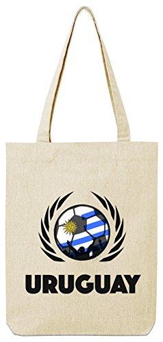 ShirtStreet Wappen World Cup Fussball WM Bio Baumwoll Tote Bag Jutebeutel Stanley Stella Fußball Uruguay Natural cn409jVMSb