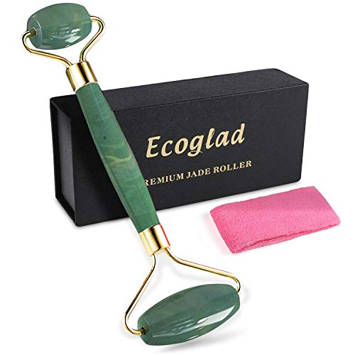 Jade Roller for face by Ecoglad, 100% Real Jade Facial Roller, Jade Roller Massager with Double Ends Anti-Aging Therapy & Skincare Tool for Face & Body, Free Headband Included, Green (Head And System Neck Lymphatic)