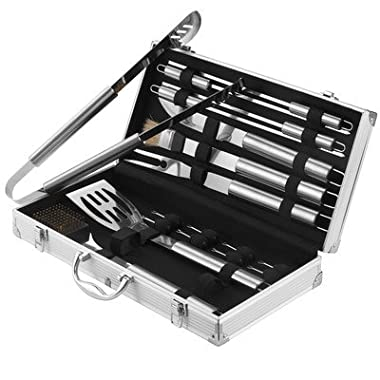 VonHaus 18-Piece Stainless Steel BBQ Accessories Tool Set - Includes Aluminum Storage Case for Barbecue Utensils