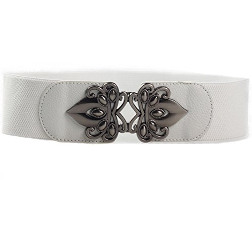 Cityelf Women's Elastic Band Belt with Alloy Buckle PDW0063 white (Horsebit Buckle Belt)