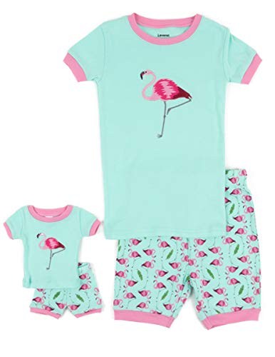 Leveret Shorts Matching Doll & Girl Flamingo 2 Piece Pajama Set 100% Cotton Size 8 Years from Leveret