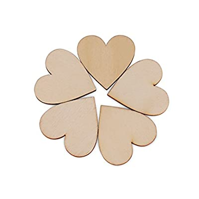 30pcs Scrapbooking Embellishments Wooden Love Heart Shape Craft Pieces for Weddings Plaques Art Craft Embellishment 40mm
