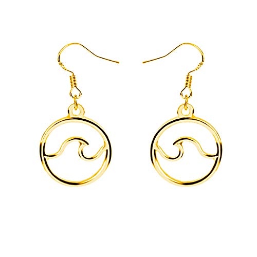 Round Ocean Wave Dangle Earrings Gold Silver Sea Wave Girls Jewelry for Holiday (gold)