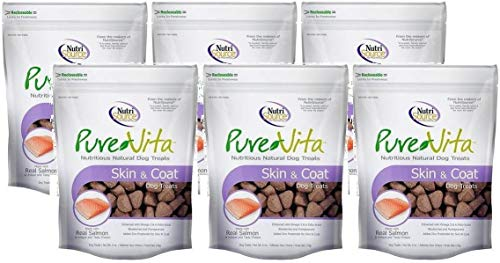 Pure Vita Skin & Coat Dog Treats with Real Salmon, 6Oz (3-Count) (2 Pack(3 Count))