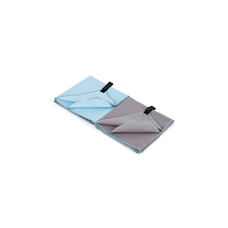 Fazitrip Set of 2 Microfiber Blue and Grey Quick Dry Towel for Gym, Travel, Camp, Beach, Backpacking, Sports, Outdoor Swim Fast Dry Absorbent Antimicrobial Compact Lightweight Towel for Men Women