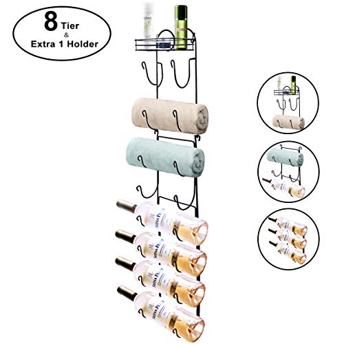 Wall Mount Metal Wire Towel Storage Shelf Organizer Rack Holder with 9 Compartments, Shelves for Bathroom Towels Towel Rack Holder Wall Mount Towel Holder Towel Rack Towel Rack Organizer Black