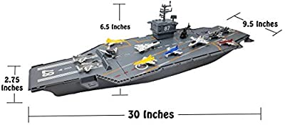 "Hunson 30"" Aircraft Carrier with Sound Effects and 12 Fighter Jets"