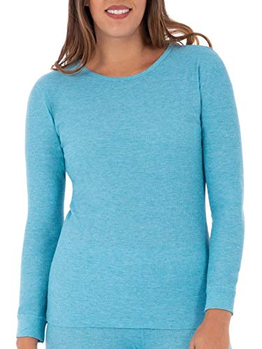 (Fruit of the Loom Women's SoftWaffleThermalCrew Neck Shirt, Teal Heather, X-Large)