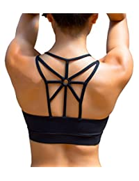 YIANNA Women's Padded Sports Bra Cross Back High Impact Strappy Yoga Bra