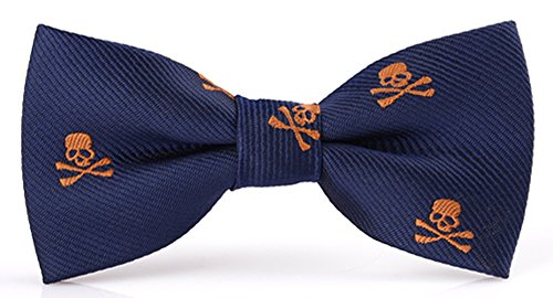 - Flairs New York Little Gentleman's Kids Bow Tie (Cobalt Blue / Orange Skulls)