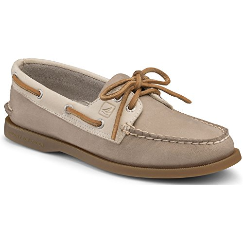 Sperry Top-Sider Women's A/O Two Tone Boat Shoe, Grey/Oat, 9 M US