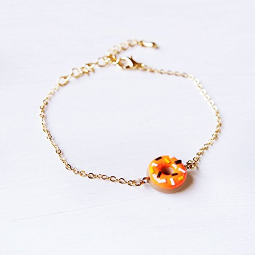 Elfi Handmade Cute Mini Pumpkin Donuts Bracelet, Orange Food Jewelry, Halloween Bracelet, Doughnut Charm, Inedible Food,Kawaii,best -