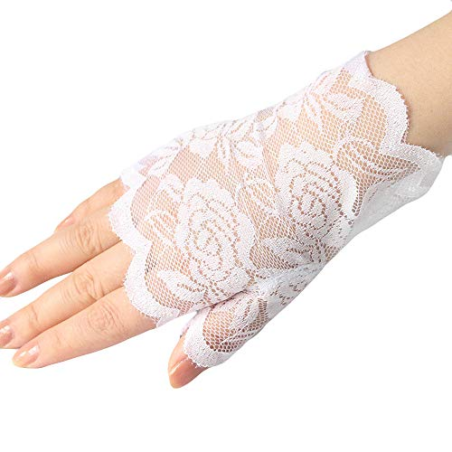 (80's Lace Fingerless Gloves Women's Floral Lace Gloves Gothic Gloves UV Protection Gloves Tea Party Gloves Mittens)