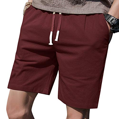 "LTIFONE Mens 7"" Inseam Causal Beach Shorts with Elastic Waist Drawstring Lightweight Slim Fit Summer Short Pants with Pockets(Burgundy,L)"