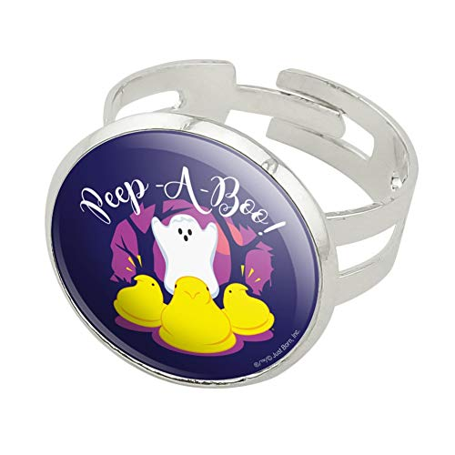 GRAPHICS & MORE Peep A Boo Ghost Halloween Silver Plated Adjustable Novelty Ring