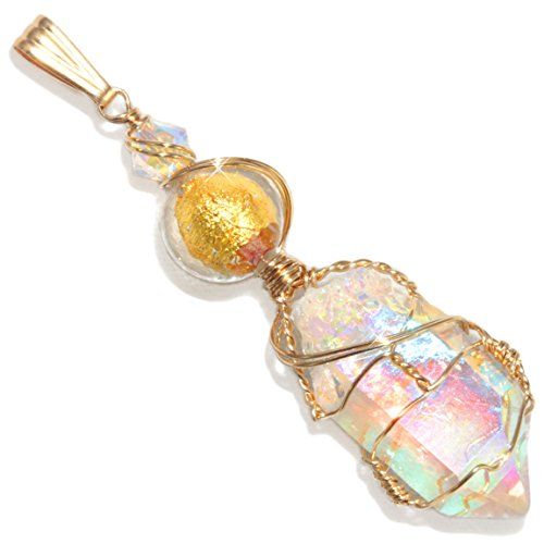 Angel Aura Quartz Wire Wrapped Handmade 14K Gold Filled Pendant By Puppylove