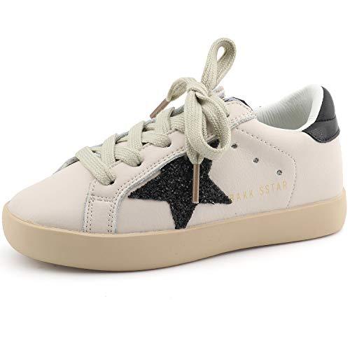 (Bakkotie Toddler Baby Boys Girls Fashion White Sparkly Glitter Leather Retro Star Sneakers Shoes(FS2239-Black/BAKK-27))