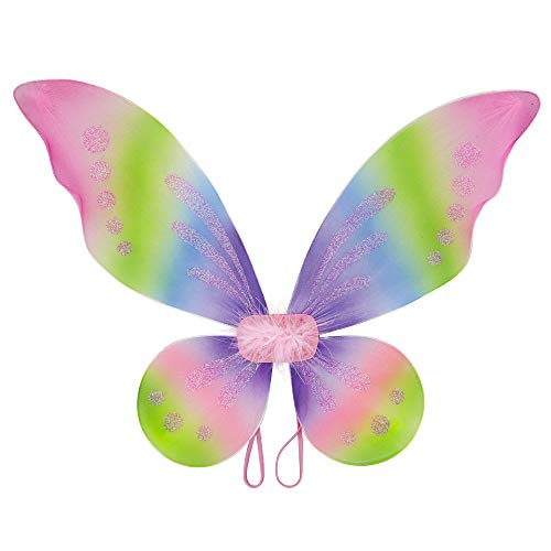 - Attitude Studio Butterfly Pixie Fairy Glitter Wings, Elastic Straps, Furry Mesh Angel Costume for Party, Pretend Play Dress Up Accessory, Halloween, One Size Fits Little Girls Women - Rainbow