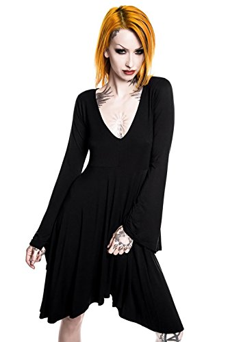 Sleeve Langarm Nocturne Midi Dress Damen Angel Gothic Killstar Schwarz Kleid twxFqY