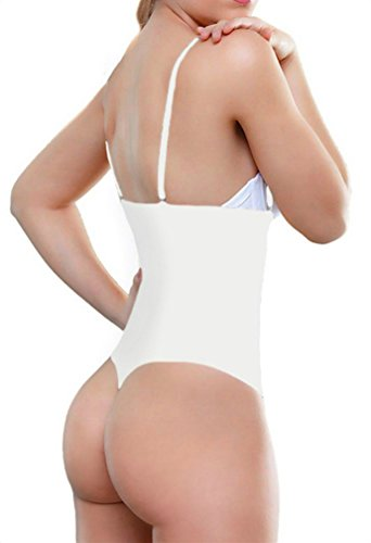 White Girdle - ShaperQueen 102A Thong - Women Waist Cincher Girdle Tummy Slimmer Sexy Thong Panty Shapewear Bodysuit (XL, White)