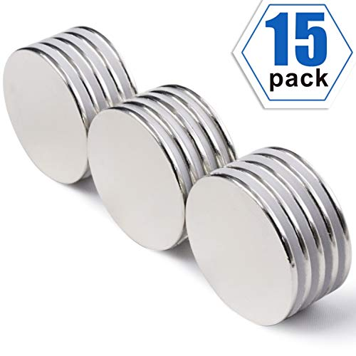 Strong Neodymium Disc Magnets, Powerful, Permanent, Rare Earth Magnets. Fridge, DIY, Building, Scientific, Craft, and Office Magnets, 1.26 inch x 0.08 inch, Pack of 15