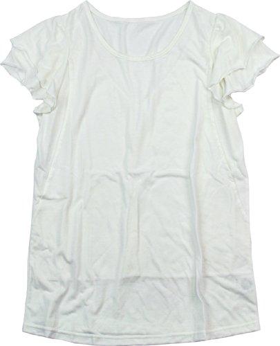 出くわすファイタークルーアビックス マミールナ 2段フリル袖授乳トップス M オフホワイト T/R天竺 935018
