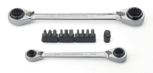 GEARWRENCH 85210 13 Piece Metric QuadBox Set (2 Ratcheting Wrenches and 10 Bits and Adapter)