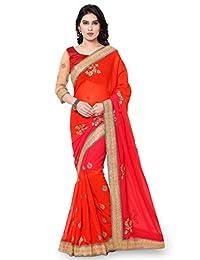 FourCorners2013 Indian Women Designer Partywear Orange and Marron Color Saree Sari