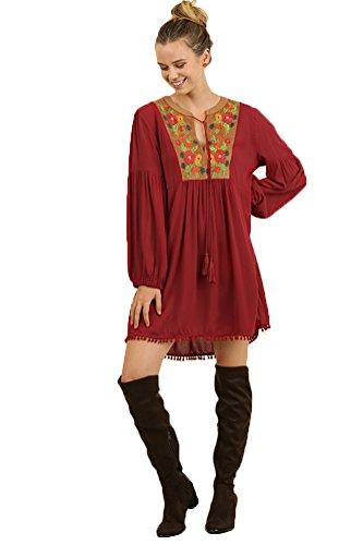 Bohemian Wine Umgee Dress Women's or Suede Tunic HWTq5