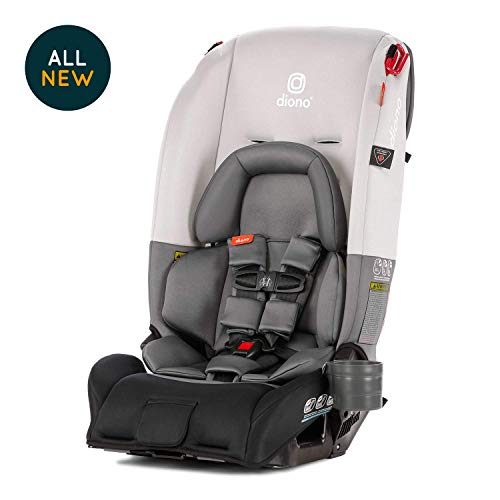 Diono Radian 3RX All-in-One Convertible Car Seat - Extended Rear-Facing 5-45 Pounds, Forward-Facing to 65 Pounds, Booster to 120 Pounds - The Original 3 Across, Light Grey