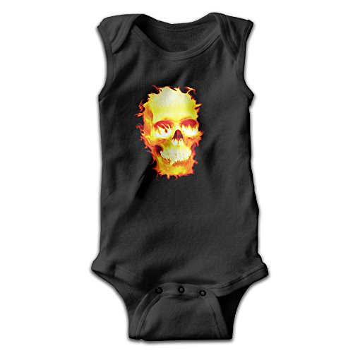 Sleeveless Fire Skull HeadSkull Unisex Infant Cute Onesies Bodysuit Romper Outfits (80s Outfits For Guys)