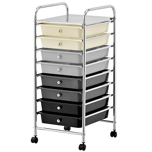 8 Drawer Rolling Trolley Storage Organizer, Mobile Office Supply Cart with Pull Out Drawers by MyGift
