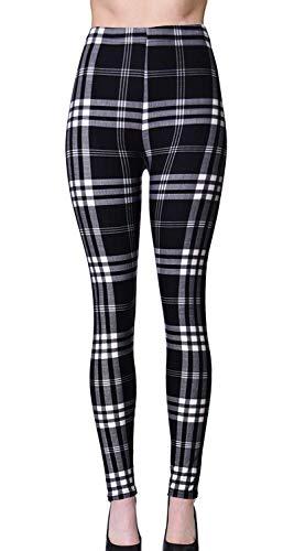 VIV Collection Plus Size Printed Brushed Ultra Soft Christmas Leggings (Black Plaid) ()