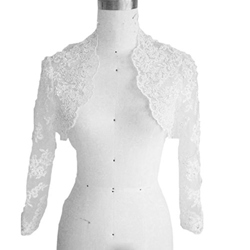 3/4 Length Sleeve Bolero (Dressyu Women's Lace 3/4 Sleeve Length Wedding Bridal Bolero Jacket White US8)